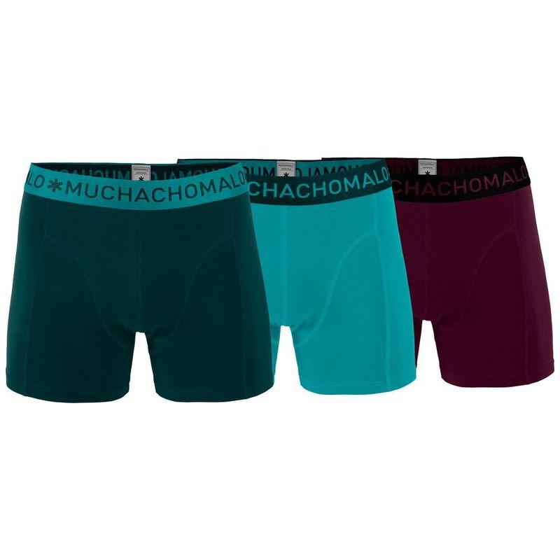 47ca1230341 Muchachomalo Mens 3-Pack Solid Boxers (Dark Green/Mint/Aubergine)