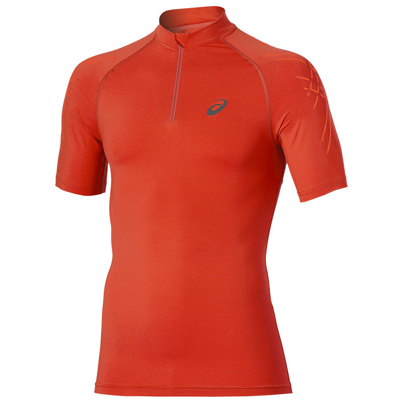 9e4d4a63 Asics Mens Inner Muscle 1/2 Short Sleeve Zip Top (Red ...