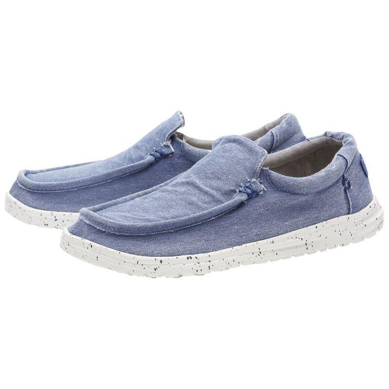 Hey Dude Mens Mikka Stretch Distressed Shoes (Indigo Washed