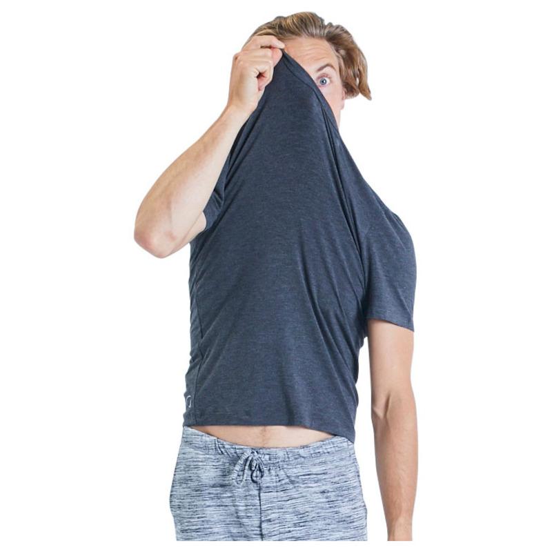 Grey Ohmme Cobra Bamboo Short Sleeve Mens Yoga Top