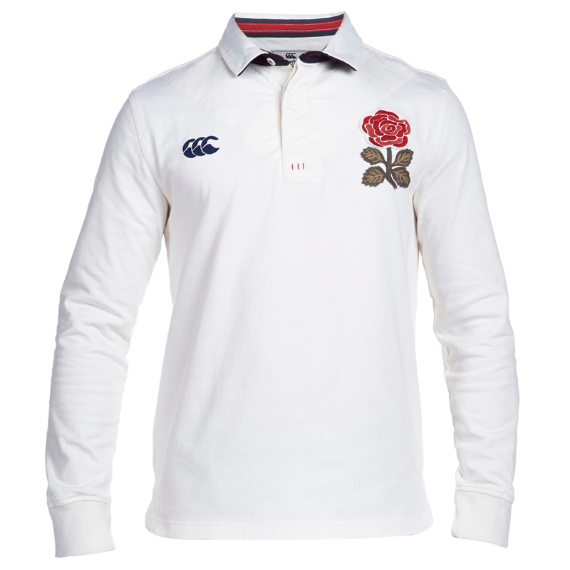 6878720879bf4b Canterbury Mens England Long Sleeve Plain Rugby Shirt (Vintage ...