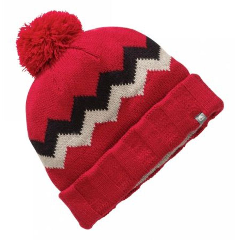 Mens Knitted Pattern Bobble Hat Dark Red