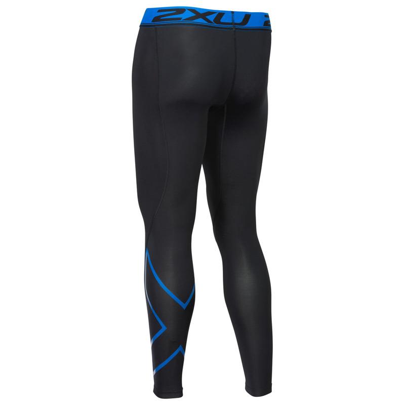 0f1a584f1a474 2XU Mens Accelerate Compression Tights (Black/Lapis Blue) | Sportpursu