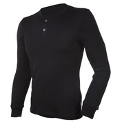 Mens Blackwool Long Sleeve Henley Top (Black)