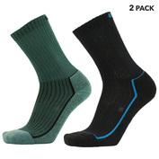 Mens Merino Hiking Socks (2 Pack - Green/Black)
